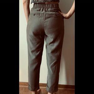 Zara olive cuffed ankle pants size XS